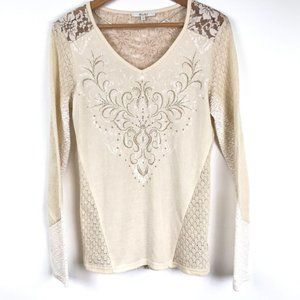Miss Me Lace Blouse Small Long Sleeve with Gold